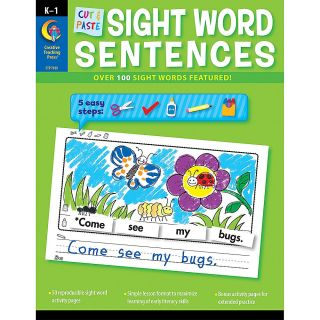 Creative Teaching Press Resource Book Cut Paste Sight Words