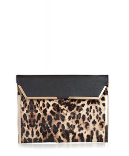 Brown Leopard Print Metal Tip Flap Clutch