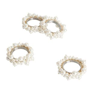 Saro Ivory Faux pearl Napkin Ring (Set of 4) Napkin Rings