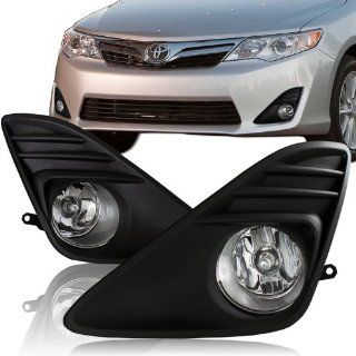 2012   2013 Toyota Camry Chrome Housing Black Bumper Cover Fog Light Lamps Kit Automotive