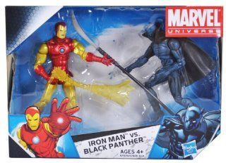 Marvel Universe Year 2009 EXCLUSIVE 2 Pack 4 Inch Tall Action Figure Set   IRON MAN with Fireblast vs. BLACK PANTHER with Long Handled Sword Toys & Games