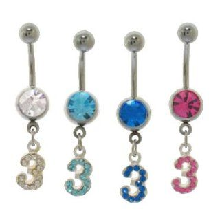 "316L Surgical Steel   Aqua Number Belly Ring   14g 3/8"" Length   Sold Individually Jewelry"
