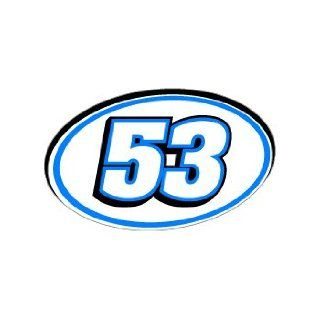53 Number Jersey Racing   Blue   Window Bumper Sticker Automotive