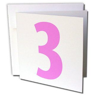 gc_112251_2 EvaDane   Numbers   3, Happy 3rd Birthday, Baby Girl, Pink   Greeting Cards 12 Greeting Cards with envelopes  Blank Greeting Cards