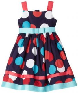 Sweet Heart Rose Girls 2 6x Polka Dot Dress,Navy/Multi,2 Clothing