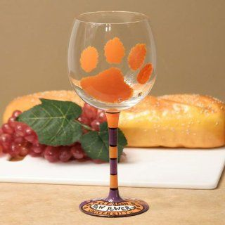 Clemson Tigers Ncaa Pair Of Hand Painted 16Oz. Wine Glass (Set Of 2) Sports & Outdoors