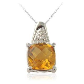 Citrine Pendant   Natural White Round Diamond & Cushion Shape Checkered Cut Citrine 4.10 ct tw in 14K White Gold.Included 18 Inches 14K White Gold Chain. Jewelry