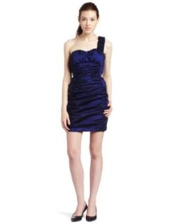 Teeze Me Junior's One Shoulder Stretch Taffeta Dress, Navy, 3