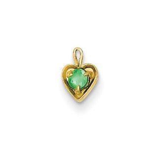 14K Yellow Gold May Birthstone Heart Charm Pendant Jewelry