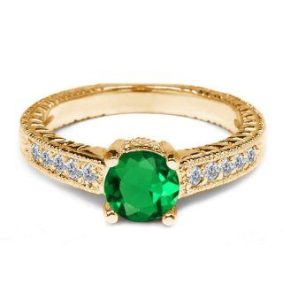 1.17 Ct Green Nano Emerald White Diamond 925 Yellow Gold Plated Silver Ring Jewelry