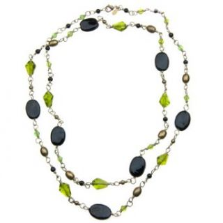 "41"" Black and Green Glass Bead Necklace with Gold Tone Accents on Hand Wrapped Wire with a Brass Lobster Clasp Clothing"