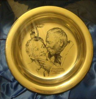"Norman Rockwell 1971 Franklin Mint Sterling Silver Christmas Plate ""Under the Mistletoe"""