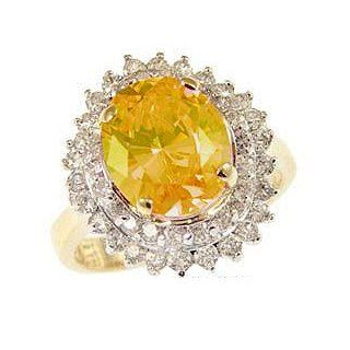 14k Yellow Gold White Rhodium, Fancy Estate Style Cocktail Ring with Lab Created Oval Canary Yellow Colored Birthstone Jewelry