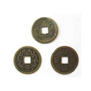 25mm Brass Plated Replica Of Chinese Coins   Pack Of 3 Arts, Crafts & Sewing