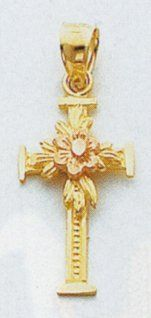 14kt Two Tone Gold Cross with Flower   C225 Jewelry
