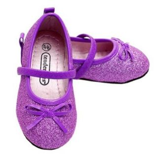 Cute Purple Sparkle Bow Mary Jane Ballet Flat Shoes Toddler Girls 5/6 Luna International Shoes