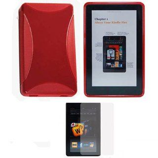"Soft Skin Case Fits  Kindle Fire 2011 Red TPU Soft Skin + LCD Screen Protector  ( does not fit Kindle Fire HD 7"" or Kindle Fire HD 8.9"") (Please carefully see the 2nd image to locate the correct model of your Kindle) Cell Phones & Accessorie"