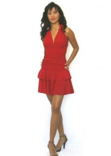 d013 Sexy Mini Halter Dress with Double Ruffle Hem, small, red