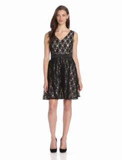 Hailey by Adrianna Papell Women's Lace V Neck Long Dress Clothing