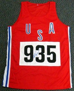 Bruce Jenner Olympics Autographed/Hand Signed USA 935 Red Track Jersey Sports & Outdoors