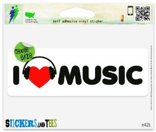 "I Love Music Vinyl Car Bumper Window Sticker 3"" x 1"" Automotive"