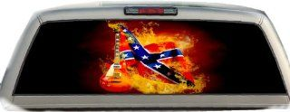 Rebel Flag  Guitar  17 Inches by 56  Inches Compact Pickup Truck  Rear Window Graphics Automotive