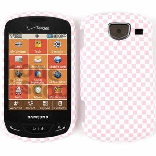 SAMSUNG BRIGHTSIDE U380 PINK WHITE CHECKERS EMBOSSED CASE ACCESSORY SNAP ON PROTECTOR Cell Phones & Accessories