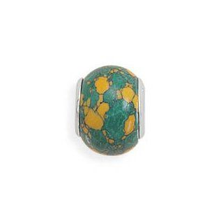 Sterling Silver Tan and Green Glass Bead Vishal Jewelry Jewelry