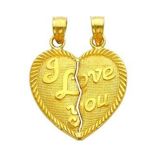 "10K Yellow Gold ""I LOVE YOU"" Heart Pendant Large Jewelry"
