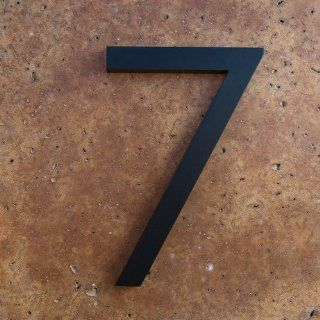"Modern House Number Black Color Aluminum Modern Font Number Seven ""7"" 6 inch  Address Plaques  Patio, Lawn & Garden"