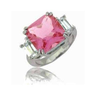 Sterling Silver Princess Cut Pink Cubic Zirconia and Simulated Diamond CZ Ring Jewelry