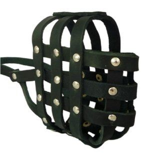 "Real Leather Dog Basket Muzzle #107 Black   Amstaff , PitBull (Circumference 12.2"", Snout Length 3.5"")"