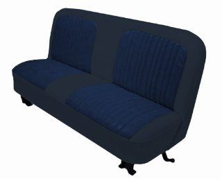 Acme U107 Y668 Front Navy Blue Vinyl Bench Seat Upholstery with Navy Blue Encore Velour Pleated Inserts Automotive