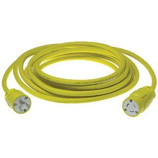 Woodhead 2647D123 Super Safeway Cordset, Industrial Duty, Locking Blade, 2 Poles, 3 Wires, NEMA L5 20 Configuration, 12 Gauge SOOW Cord, Rubber, Yellow, 20A Current, 125V Voltage, 100ft Cord Length Electric Plugs