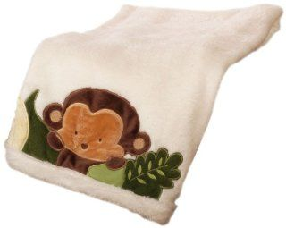 Kids Line Jungle 123 Boa Blanket, Brown  Nursery Blankets  Baby