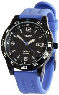 Timex Mens Date Window Black IP Stainless Steel Case Blue Rubber Strap Watch T2P137 Watches
