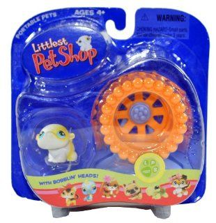 "Hasbro Year 2005 Littlest Pet Shop Portable Pets ""Totally Talented Pets"" Series Collectible Bobble Head Pet Figure Set #137   Hamster with Exercise Wheel and Stand (51843) Toys & Games"