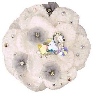 Tarina Tarantino   Fashion Couture   Iconic Collection   Swarovski Crystal Large Linen Flower Anywhere Hair Clip   White #AC01S7 700700  Hair Barrettes  Beauty