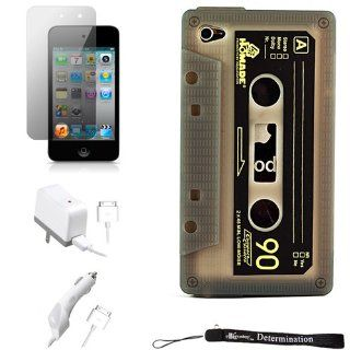 Silicone Cassette Shape Cover Skin Case for New Apple iPod Touch 4 ( 4th Generation 8GB 16GB 32GB ) + Includes Anti Glare Screen Protector Guard + Includes a Rapid Travel Car Charger and Home Wall Charger for your iPod Touch   Players & Accessories