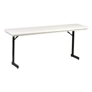 "Blow Molded Plastic T Leg Folding Training Table Adjustable Height 18"" W x 72"" L"