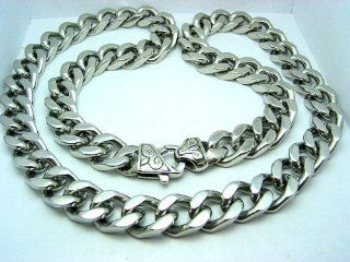 "Mens Curb Cuban Link Heavy Chain Necklace Stainless Steel 316L 24"" 11.5mm (1/2"") 145 gram Jewelry"