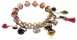 "Betsey Johnson ""Enchanted Forest"" Dress Form Multi Charm Half Stretch Bracelet, 7.5"" Jewelry"