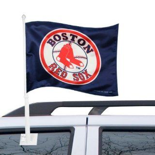MLB Boston Red Sox Car Flag with Wall Bracket   Outdoor Flags