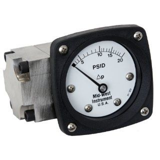 "Mid West 142 SA 00 OO Differential Pressure Gauge, 316 Stainless Steel Case, 316 Stainless Steel Wetted Parts, Diaphragm Type, 2% Full Scale Accuracy, 2 1/2"" Dial, 1/4"" FNPT Back Connection, 3000 psig SWP"