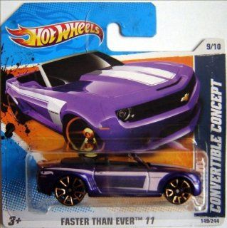 CAMARO CONVERTIBLE CONCEPT (Purple) * 2011 Hot Wheels #149/244 Faster than Ever 9/10 164 scale car on SHORT CARD