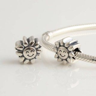 DUMAN 1pc 925 Sterling Silver Beads Fathers Day Gifts Sunflower Charms Compatible with Pandora Chamilia Kay Troll European Bracelet Arts, Crafts & Sewing