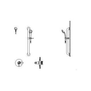 "Delta T17TH155 35 Commercial Double Handle Thermostatic Hand Shower Valve Trim Only with 26"" Combo, Chrome   Bathroom Sink Faucets"