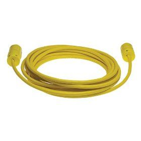 Woodhead 1447A163 Super Safeway Cordset, Industrial Duty, Straight Blade, 2 Poles, 3 Wires, NEMA 5 15 Configuration, 16 Gauge SOOW Cord, Rubber, Yellow, 15A Current, 125V Voltage, 25ft Cord Length