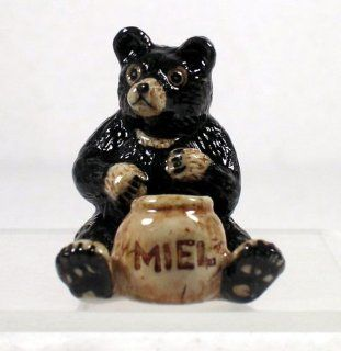 KLIMA Black Bear sits w/Gold HONEYPOT New MINIATURE Figurine Porcelain K008   Collectible Figurines