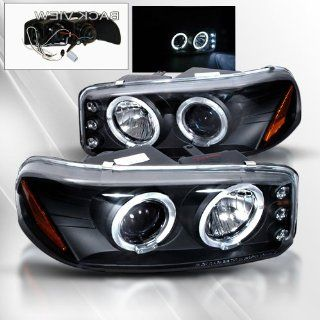 GMC Sierra/Yukon Denali 02 03 04 05 06 Projector Headlights /w Halo/Angel Eyes ~ pair set (Black) Automotive